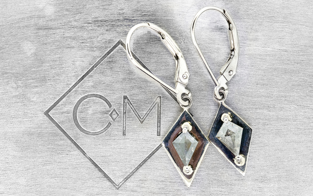 TOBA .82 carat kite rose cut salt and pepper diamond dangle earrings set in 14k white gold. Part of our New Classic Collection. Front view on metal background with Chinchar/Maloney logo