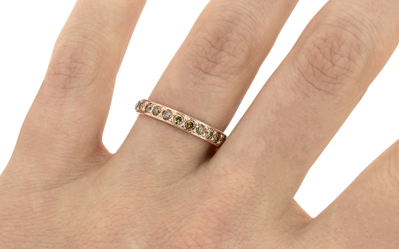 wedding set gold diamond fancy pave designs ring brown sarah bands contoured laurie rose band product chocolate in colored