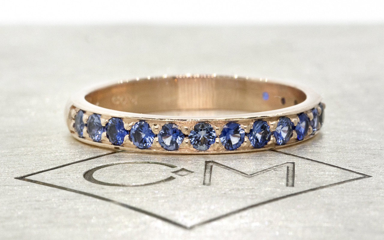 Wedding Band with 16 Blue Pave 2mm Sapphires