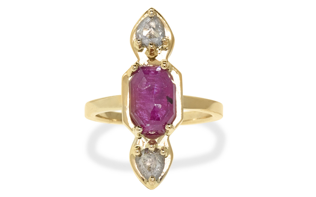 Santorini .59 carat pear rose cut sparkly salt and pepper diamonds and 2.08 carat fancy rose cut rich ruby set in 14k recycled yellow gold, set in our signature setting with 2mm flat band. Part of our New Classic Collection. Front view on white background