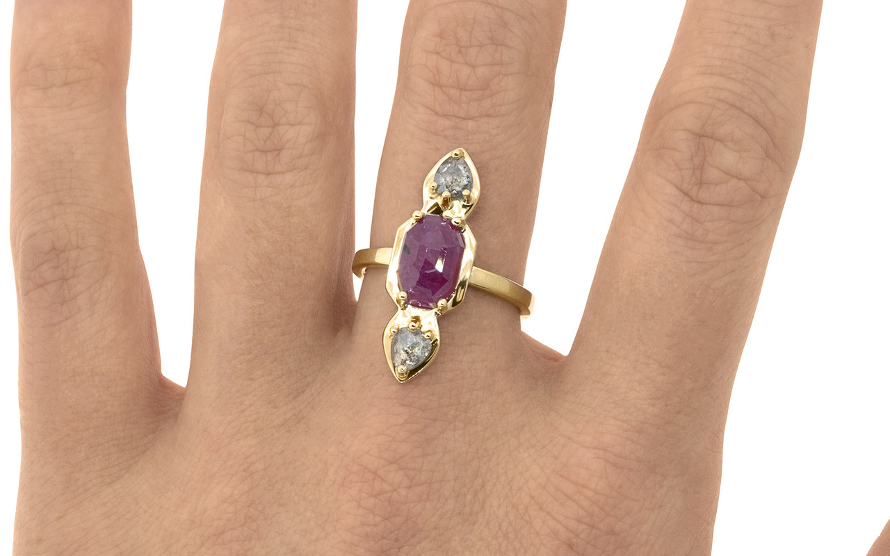 Santorini .59 carat pear rose cut sparkly salt and pepper diamonds and 2.08 carat fancy rose cut rich ruby set in 14k recycled yellow gold, set in our signature setting with 2mm flat band on a hand. Part of our New Classic Collection