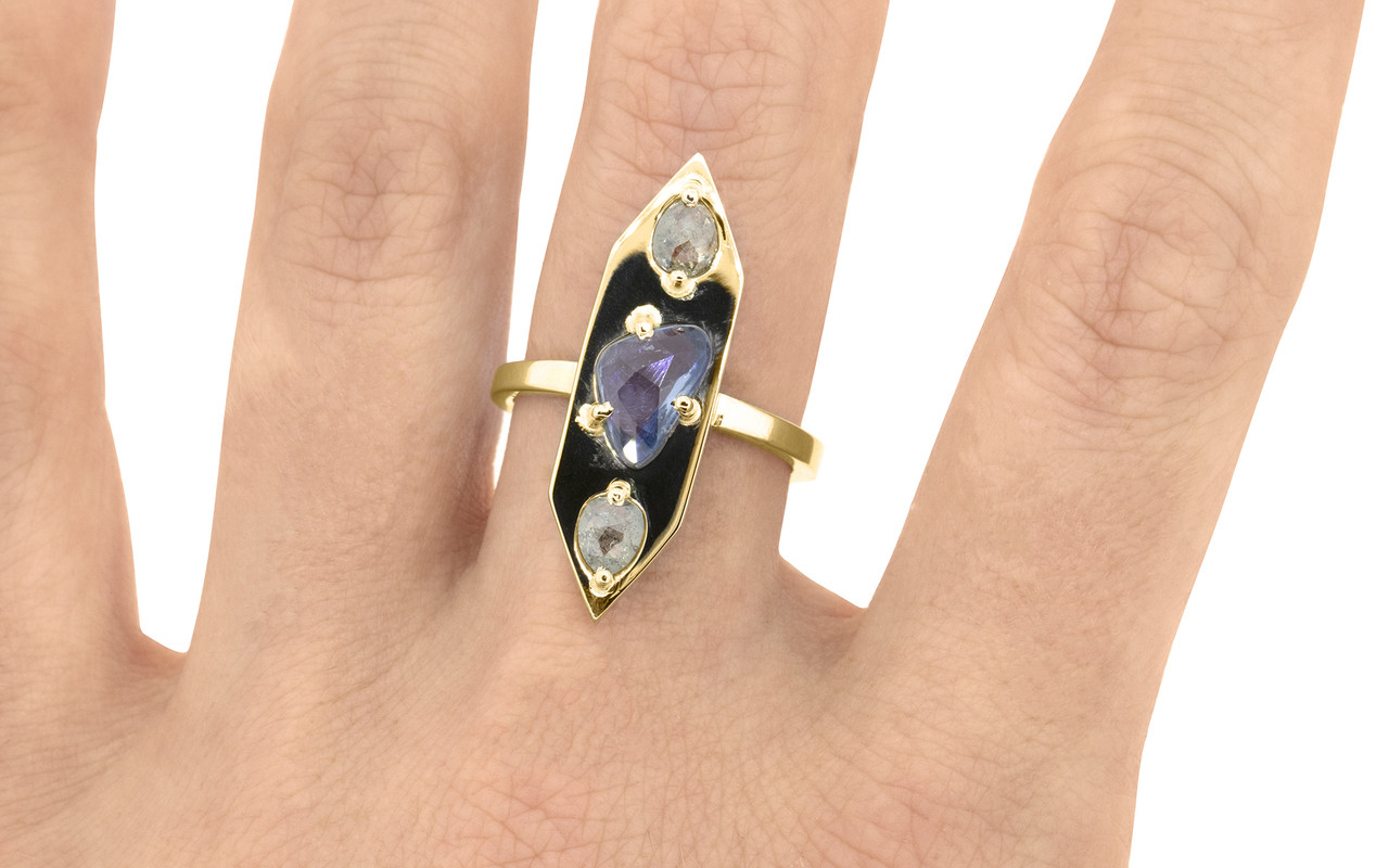 SANTORINI 1.19 carat free form blue sapphire and rose cut luminous .48 carat salt and pepper diamonds set into our signature diamond setting, set in 14k yellow gold flat band on a hand. The perfect everyday fashion ring and part of our New Classic Collection.