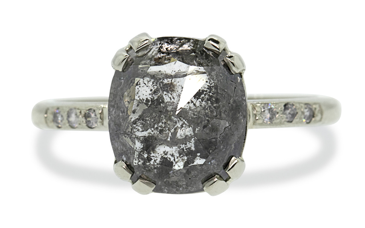 2.68 carat one of a kind cushion, rose-cut translucence with an excellent cut and surface flash salt and pepper diamond ring. With six 1.2mm brilliant gray diamonds bead set in 14k recycled recycled white gold 2mm half-round gold band. Front view on white background