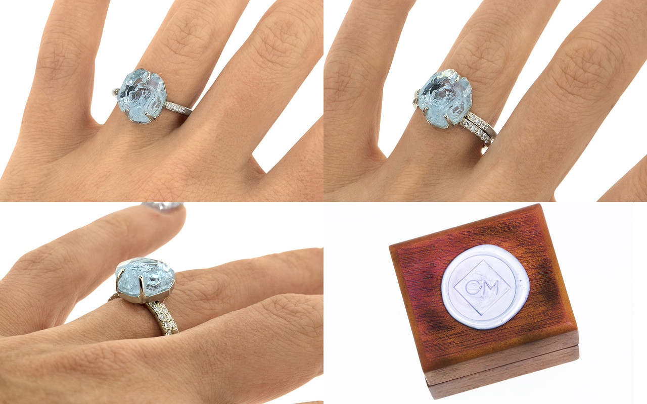 one-of-a-kind, partially hand-cut and polished, 4.04 carat sparkly and translucent, bright blue aquamarine. Prong set. Six 1.2mm brilliant white diamonds have been bead-set into the 14k recycled white gold 2mm 1/2 round band on a hand. With wooden box stamped with wax seal Chinchar/Maloney logo. Part of our Refined Rough Collection.