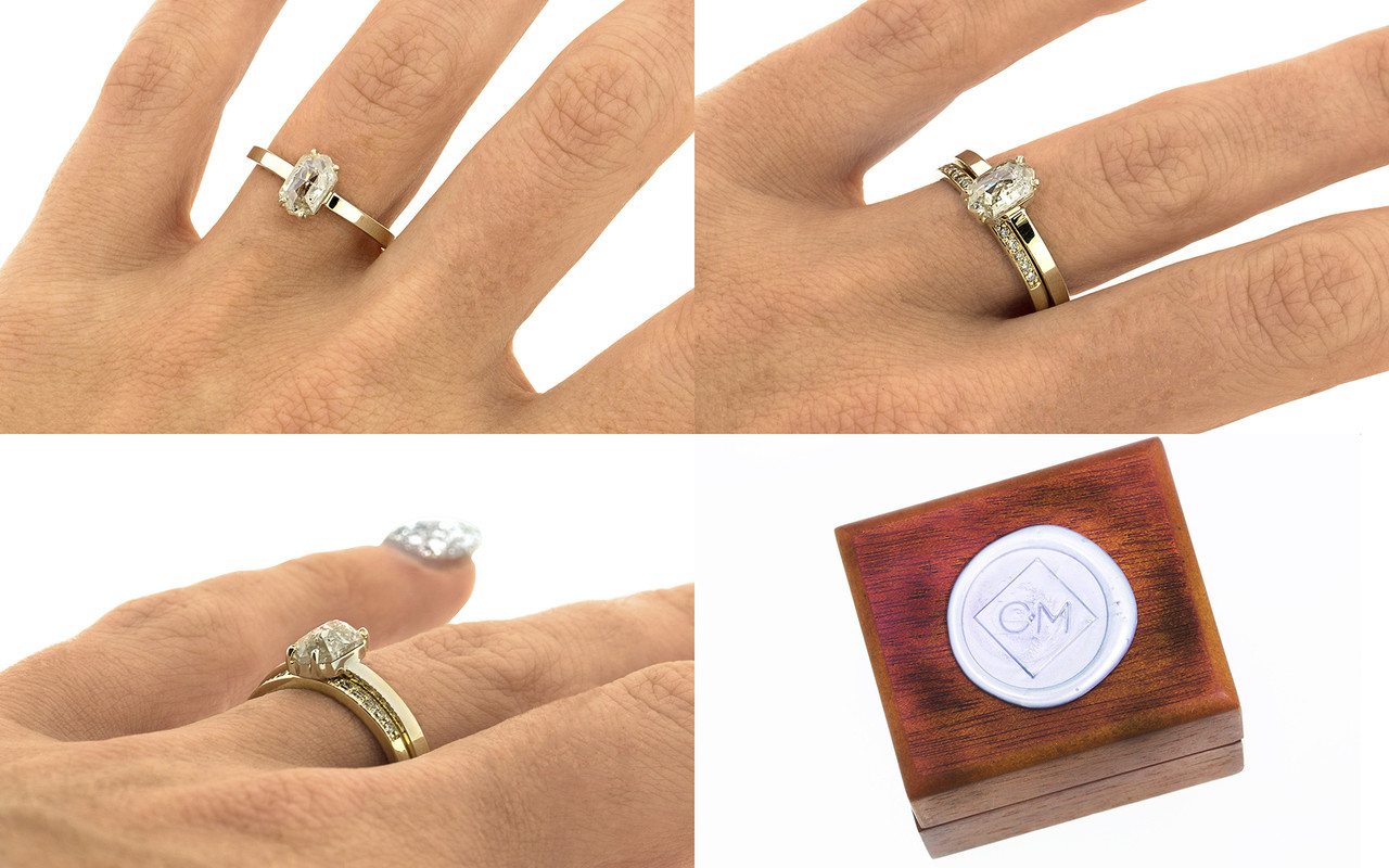 One of a kind, this .67ct diamond has a sparkling and translucent, light champagne color. hexagonal, fancy, rose cut diamond that measures 8mm x 5.25mm. 14k recycled yellow gold with a band that measures 2mm wide on a hand. With wooden box stamped with wax seal Chinchar/Maloney logo