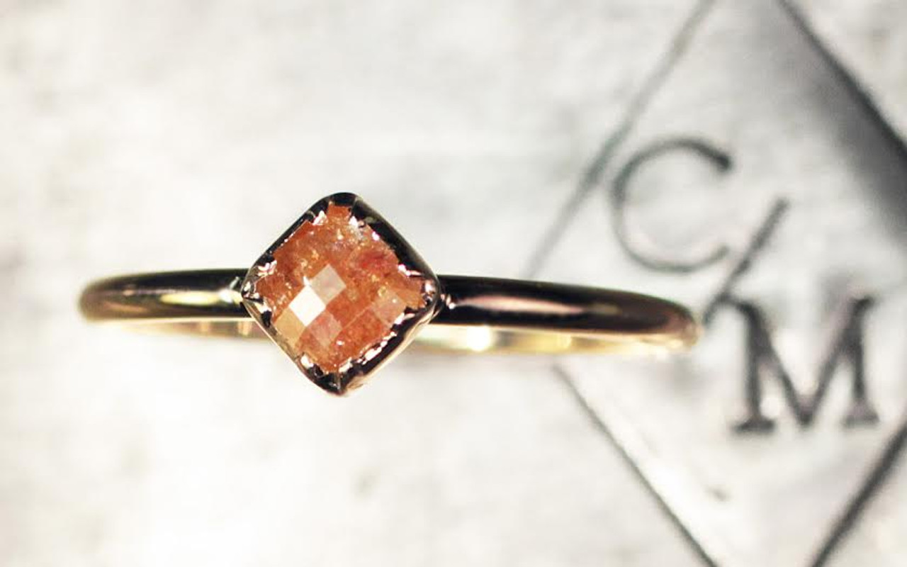 39 Carat Dark Honey Diamond Ring in Yellow Gold CHINCHAR•MALONEY