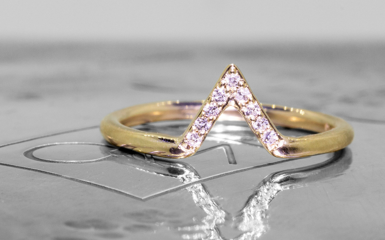 Diamond Band In 14k Yellow Gold Center Is Triangle Shape And Set With Small