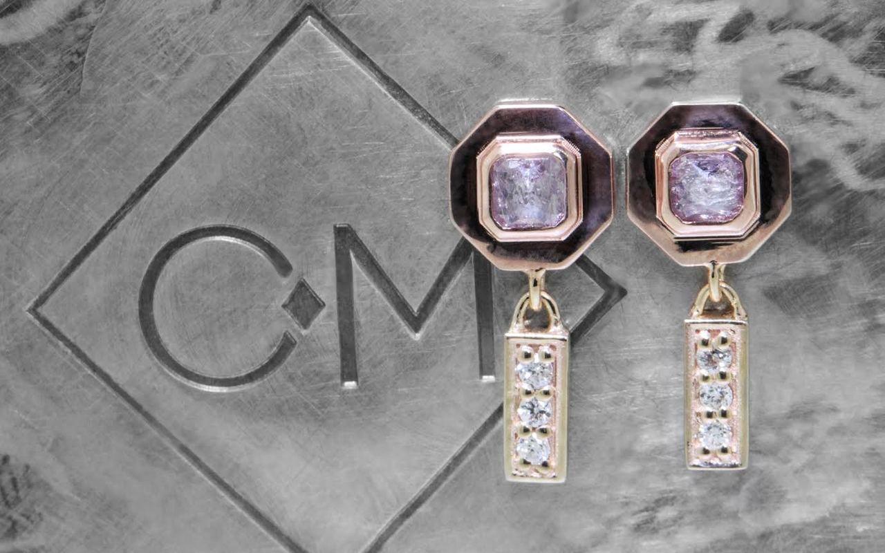 KUTTARA Earrings in Rose & Yellow Gold with .38 Carat Pink/Purple Diamonds