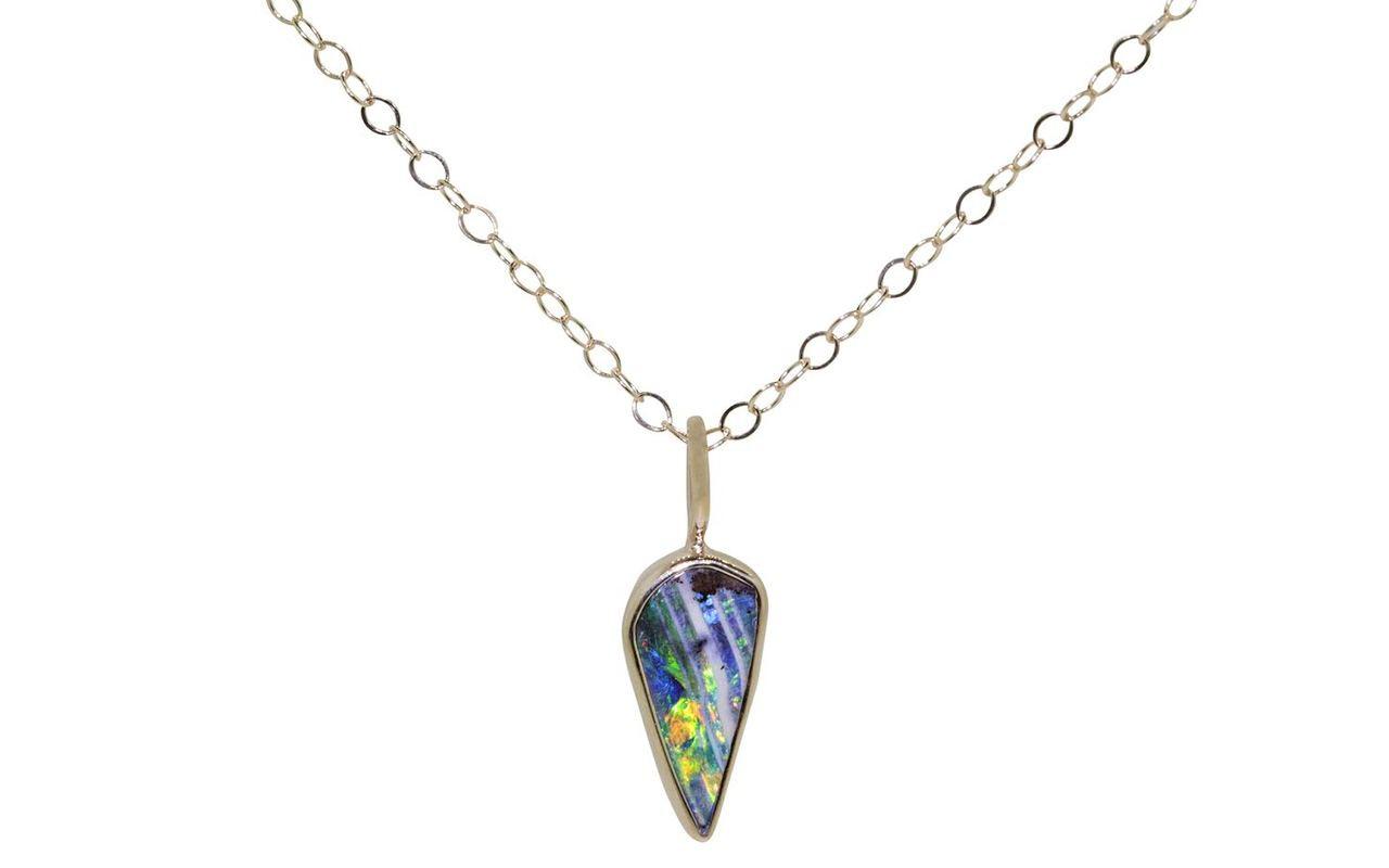Australian Boulder Opal Necklace in Yellow Gold