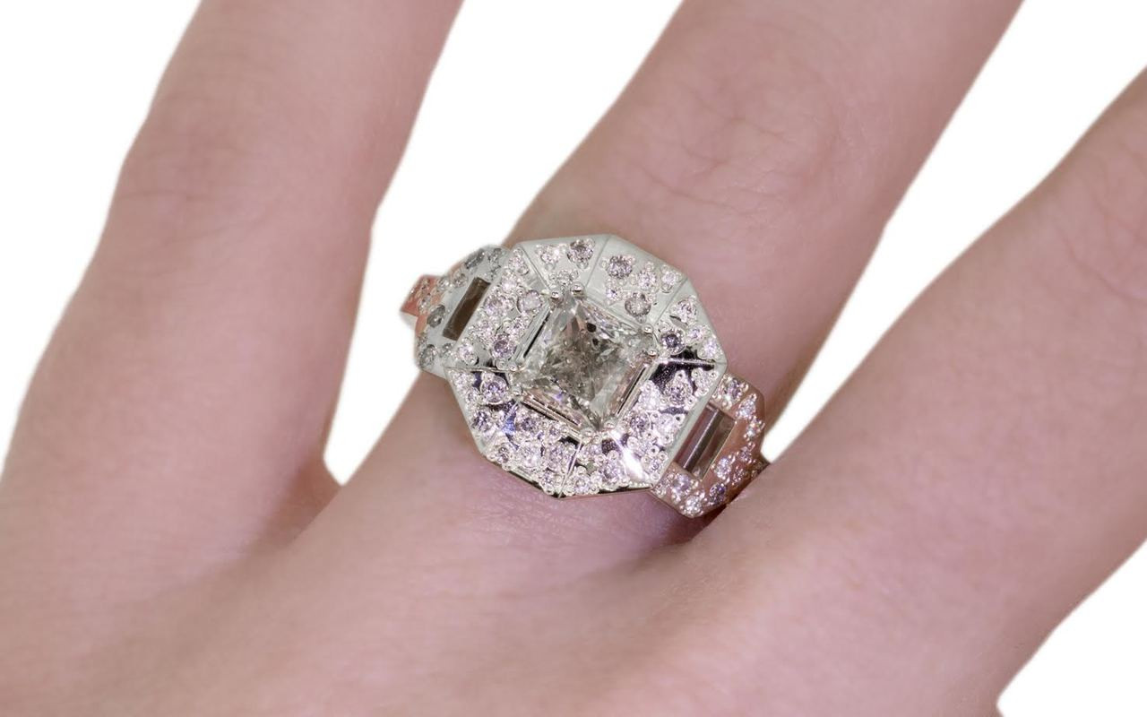 VESUVIO Ring in White Gold with 1.15ct Champagne Diamond