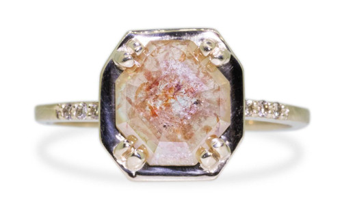 MAROA 1.03 carat fancy-cut peachy gray diamond ring set in our signature square setting, set in 14k recycled yellow gold. With 1.2mm brilliant champagne diamonds set in notched band and each corner of main setting. Part of our New Classic Collection. Front view on White Background
