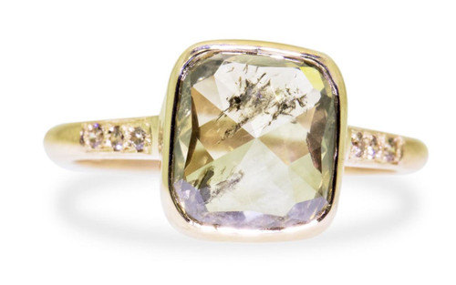 3.20 carat cushion, rose cut translucent rustic champagne bezel set diamond ring set in 14k yellow gold with six 1.2mm brilliant champagne diamonds set in 1/2 round band. Front view on white background