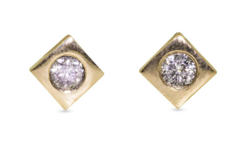 Stud earrings in yellow gold with 3mm brilliant gray diamonds set in each stud.  Studs are square-diamond shaped.  Front view on white background.
