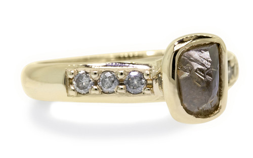 1.79 Carat Rough Cocoa Diamond Ring in Yellow Gold