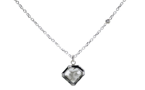 EDZIZA 14K white gold .93 carat salt and pepper diamond pendant on 14k white gold chain with 2mm brilliant gray diamond set in the chain.