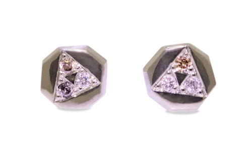 Askja 14k white gold octangular stud earrings with white, gray and champagne pave diamonds set in triangle on  surface.