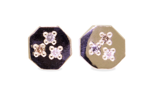 Askja 14k yellow gold hexagon stud earrings White, gray and champagne pave diamonds set in surface.