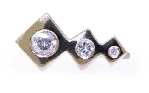 Front view on white background of one earring.  Three square-diamond shapes in decreasing size make up the ear climber with brilliant, round gray diamonds are set into the earring also in decreasing size order.