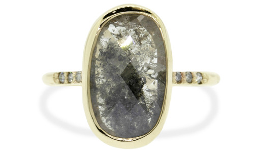 3.49 carat cushion, rose cut textured opaque gray bezel set diamond ring set in 14k yellow gold with six 1.2mm brilliant gray diamonds set in 1/2 round band. Front view on white background