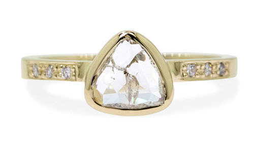 .80 Carat Rustic White Diamond Ring in Yellow Gold