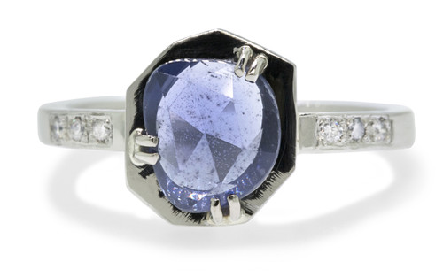 KIKAI 1.37 carat free form rose cut blue sapphire with six 1.2mm brilliant white diamonds set in band set in 14k white gold flat band. front view on white background Part of our New Classic Collection
