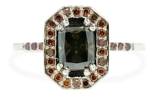 KATLA New Classic .98 carat fancy cut dark cocoa diamond prong set in octangular 14k white gold setting with brilliant, cognac diamonds surround the center diamond in a halo and are also set into each corner of the setting and each shoulder of the ring as well as six cognac diamonds flanking the main setting. Three on each side.
