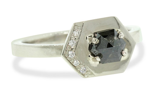 TOBA .34 carat hexagonal rose-cut natural black diamond ring with five 1mm brilliant white diamonds set into the main setting set in 14k white gold. Part of our New Classic Collection. Front view on white background.