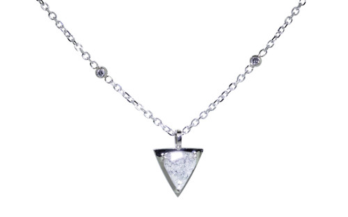 TOBA .79 carat triangle, rose-cut salt and pepper diamond necklace with two 2mm brilliant gray diamonds set into chain set in 14k white gold. Part of our New Classic Collection. Front view on white background