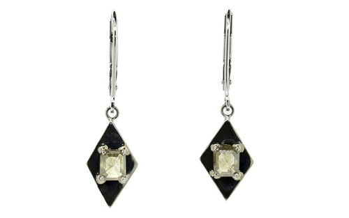 TOBA .78 carat cushion rose cut dark champagne diamond dangle earrings set in 14k white gold. Part of our New Classic Collection. Front view on white background