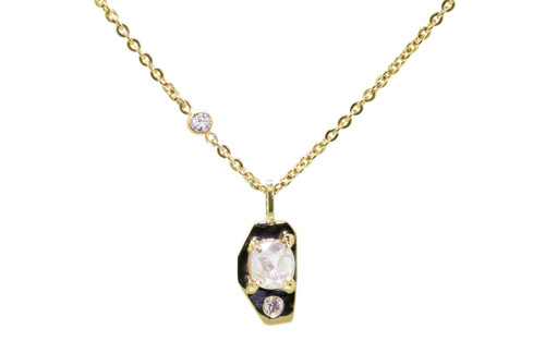 TOBA .45 carat rose cut icy white diamond necklace with two 2mm brilliant white diamonds set into main setting and chain set in 14k yellow gold. Part of our New Classic Collection. Front view on white background