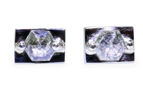 TOBA .58 carat fancy rose cut salt and pepper diamond stud earrings set in 14k recycled white gold. Part of our New Classic Collection. Front view on white background