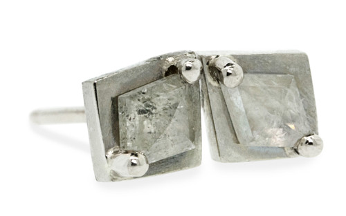 TOBA .31 carat fancy rose cut rustic white diamond stud earrings set in 14k white gold. Part of our New Classic Collection. Front view on white background.