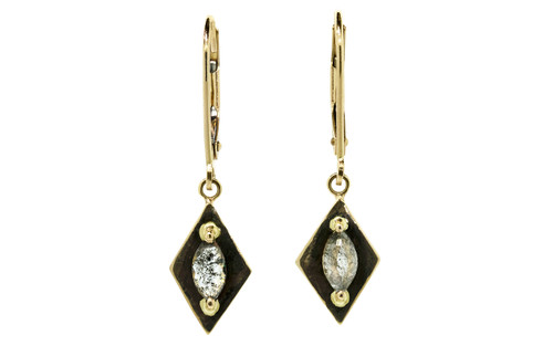 TOBA .56 carat marquise, rose-cut, salt and pepper diamond dangle earrings set in 14k yellow gold. Part of our New Classic Collection. Front view on white background