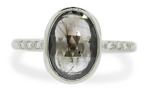 2.46 Carat Smoky Diamond Ring in White Gold
