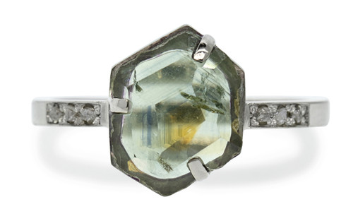 3.82 Carat Hand-Cut Montana Sapphire Ring in White Gold