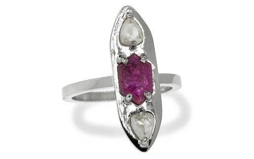 SANTORINI Ring in White Gold with .55 Carat Icy White Diamonds and .96 Carat Ruby