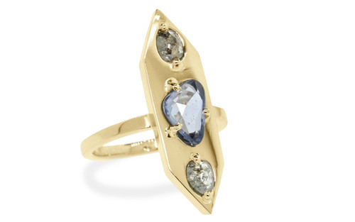 SANTORINI 1.19 carat free form blue sapphire and rose cut luminous .48 carat salt and pepper diamonds set into our signature diamond setting, set in 14k yellow gold flat band. The perfect everyday fashion ring and part of our New Classic Collection. 3/4 view on white background