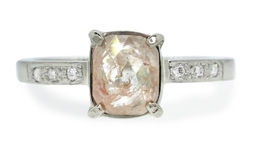 .82 carat sparkly light peach cushion rose cut prong set diamond ring, with six 1.2mm brilliant white diamonds bead set into 14k recycled white 2mm wide gold band. Front view on white background