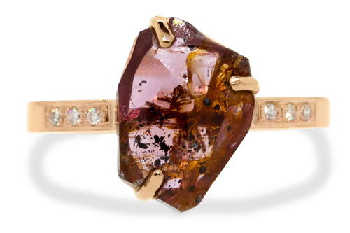 3.92 Carat Hand-Cut Ruby Ring in Rose Gold