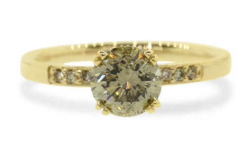 1.05 Carat Brilliant Champagne Diamond Ring in Yellow Gold with Free Wedding Band