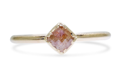 .39 carat cushion, rose cut dark honey diamond bezel set ring set  in 14k yellow gold 1/2 round band. Front view on a white background