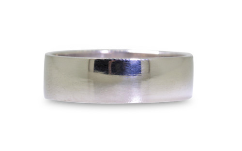 14k white gold men's flat wedding band on white background
