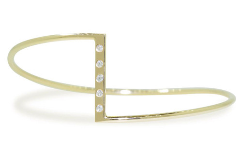 Bracelet in 14k yellow gold in zig-zag shape.  Five 2mm brilliant white diamonds are set in the center bar of the bracelet.  Front view on a white background.