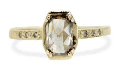 MAROA .93 carat fancy-cut, champagne diamond ringin our signature square setting, set in 14kyellow  gold. with four 1.2mm champagne diamonds in each corner of main setting. Front view on white background