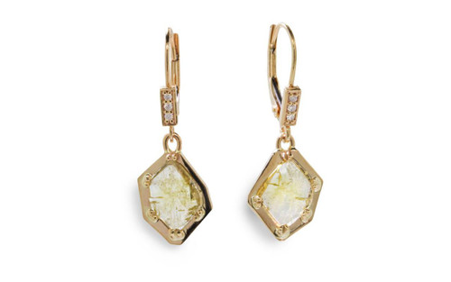 ASKJA 14k yellow gold dangle earrings with 1.11 carat free form green diamonds prong set in geometric 14k yellow gold setting.