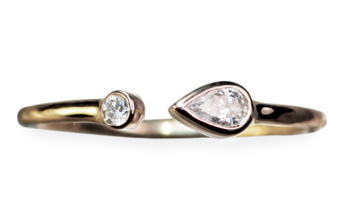 Pear Shaped Diamond Open Cuff Ring