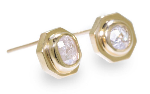 ASKJA 14k yellow gold hexagon stud earrings with round rose cut .71 carat icy white diamonds bezel set.