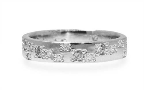 14k white gold wedding band with brilliant gray diamonds and brilliant, white diamonds bead set in organic pattern around the entire ring. On white background