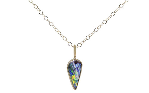 Australian Boulder Opal Necklace in Yellow Gold