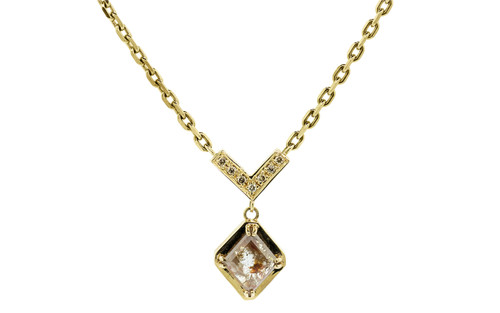 MERU Necklace in Yellow Gold with .86 Carat Peach and White Diamond